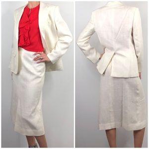 The Villager 70s Vintage Ivory Tweed Skirt Suit